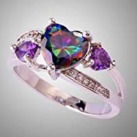 Best Selling Rainbow & White Topaz Amethyst Gemstone Silver Ring Sz 6 7 8 9 10 (7)