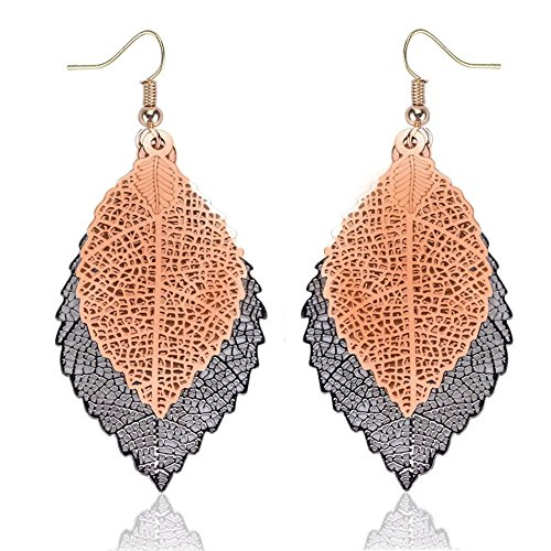 Earrings Leaf Double - NOVMAY Womens Earrings Double Leaf Lightweight Vintage Design Earrings for Women Girls (Golden and black)