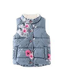 Kids Toddler Girls Floral Fleece Jacket Vest Coat Waistcoat Warm Winter Clothes Outwear