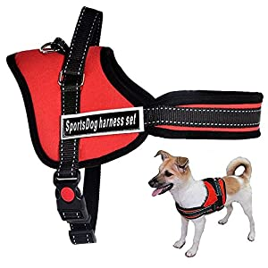 SPORT DOG No Pull No Chock Dog Harness, Heavy Duty, Comfortable Breathable and Adjustable with Top Handle for Small Medium Large Breeds Red M