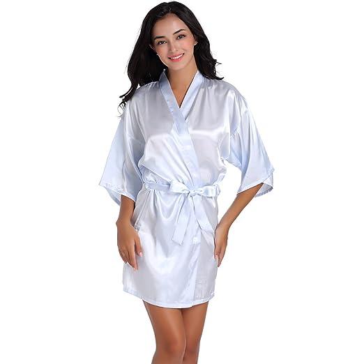 WYSMOL Damas de Honor Ropa de Dormir Erótica para Mujer Sexy Batas y Kimonos de Satén: Amazon.es: Ropa y accesorios