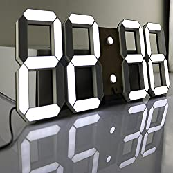 Besplore Wall Clock,Multi-Functional Remote Control Large LED Digital,Black Shell White Digital