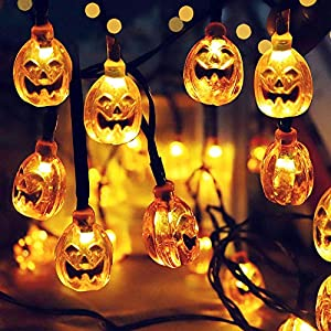 Charlemain Halloween Pumpkin String Lights, Solar String Light,20ft 30 LED Outdoor Decorative Lights for Patio, Garden, Gate, Yard, Halloween Christmas Decoration (IP65 Waterproof,Warm White)