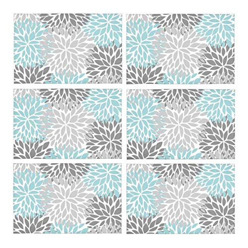 - InterestPrint Dahlia Pinnata Flower Light Blue and Gradient Gray Washable Polyester Fabric Placemats for Dining Room Kitchen Table Decoration, 12 x 18 Inches Place Mats Set of 6