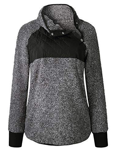 SHIBEVER Womens Plus Fleece Sweatshirt Long Sleeve Oblique Button Geometric Pattern Pullover Coats Jackets Outwear Black S -