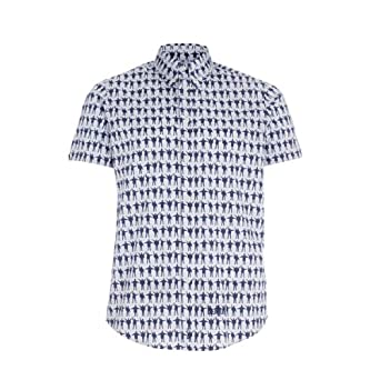 3774fbaec The Beatles by Ben Sherman Shirt  Help  Blue S S  Amazon.co.uk  Clothing