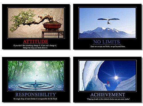 "4Pcs x Motivational Self Positive Office Quotes Inspirational Success Teamwork Poster Fabric Prints Wall Photos 26x17"" (66x44cm) (5-8)"