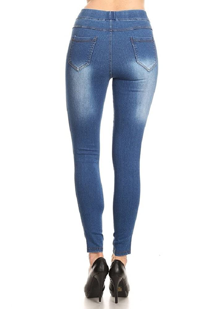 692acd0c7586d Women s Stretch Pull-On Skinny Ripped Distressed Denim Jeggings  Regular-Plus Size at Amazon Women s Jeans store