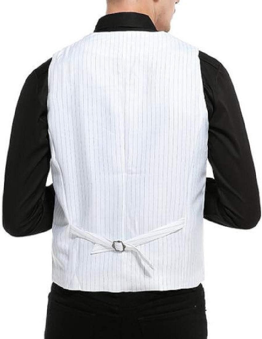 pujingge Mens Stylish Sleeveless Formal Single Breasted Stripe Blazer Vest Jackets