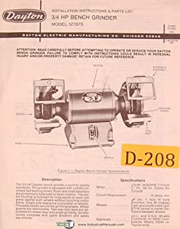 dayton 1z707s, 3 4 h p , bench grinder, installtion and parts manual Band Saw Parts Diagram