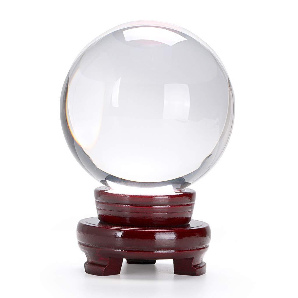 Btsky™ Sfera di cristallo trasparente con supporto in legno per fotografie o esposizione, 80 mm