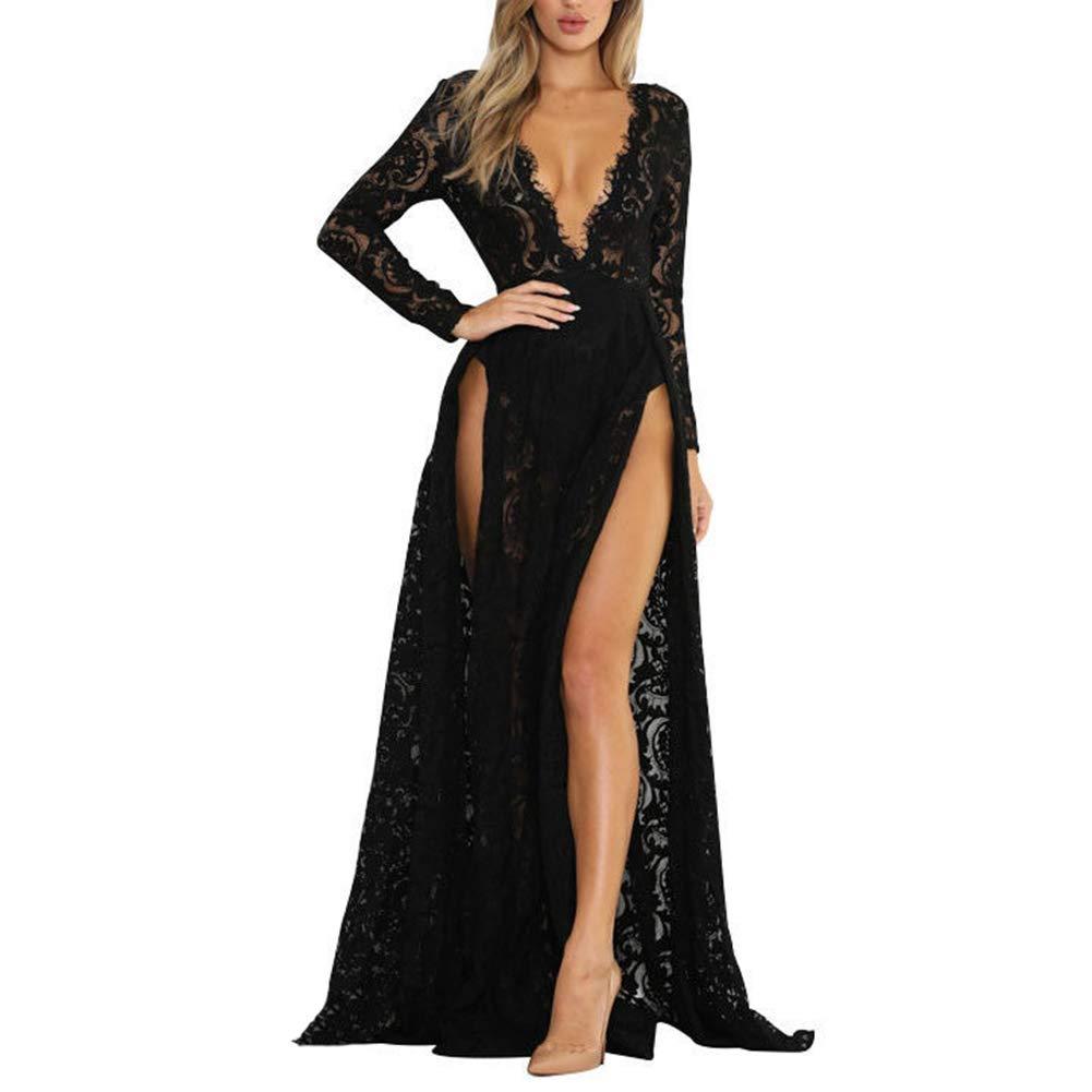 66dfa36f8d555 Women Deep V-Neck Backless Fitted Evening Dress Long Sleeve Lace Formal  Maxi Dress Thigh High Slit Black