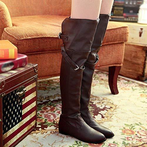 Longues Ronde Tête 35 Marron Et Boots Kaiki Haute Femmes Chevalier Bottes De Pour taille Boucle Plates Ceinture 43 bottes wvqzYw4