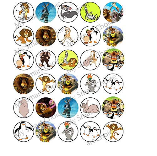 30 x Edible Cupcake Toppers – Madagascar Themed Collection of Edible Cake Decorations | Uncut Edible Prints on Wafer Sheet - Birthday Madagascar Cake
