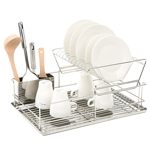 2 Tier Stainless Steel Dish Storage, Drying Rack with Utensil Holder and Drainboard (Rack Utensil Steel Stainless Drying)