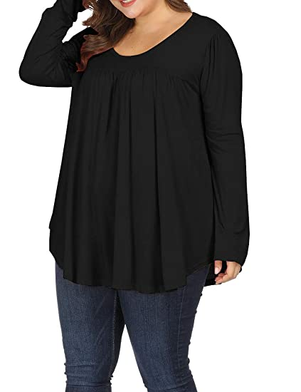 49cdb5a00f38d ... Allegrace Women Plus Size Casual Pleated Long Sleeve Blouse Top