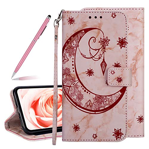 Marble Moon Embossing Imprinted Flip Wallet Premium PU Leather Case for iPhone X/XS 5.8