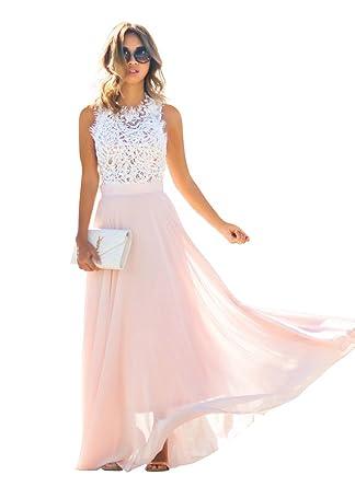 Review ABD Women's Vintage Floral Lace Top Chiffon Wedding Bridesmaid Evening Party Maxi Dress