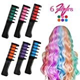Coolyouth Hair Chalk Comb Set of 6 PCS, Temporary Hair Color Dye for Girls and Boys Dress Up, Party, Cosplay, Festivals, Salon Art DIY Hair Style Highlighting, Easy Dye and Wash Out (6 colors)