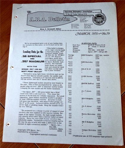 A. R. A. American Reloaders Association Bulletin March 1970, No. 79 (Speer Load data 125gr JSPt .357 for .38 Special & magnum; Hornandy load data jacketed handgun bullets in 9mm Luger, .38 Special, .357 magnum, .44 magnum & .45 LC (Jacketed Handgun Bullets)