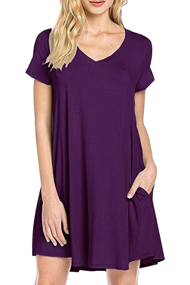 YMING Women's Simple Short Sleeve Basic Casual Loose T-Shirt Dress S-4XL NVRENKUANSONGDUANXIUCA