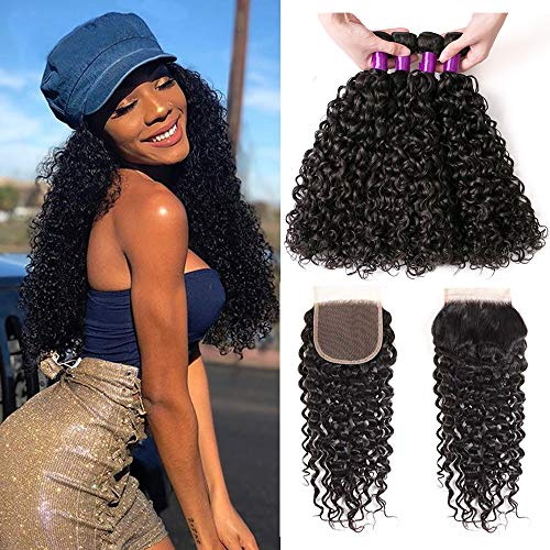 BEAUFOX Brazilian Hair Water Wave Virgin Hair 3 Bundles with Closure Brazilian Virgin Human Hair Extensions Brazilian Hair Weave Bundles Free Part Closure Wet and Wavy Bundles Natural Color ()