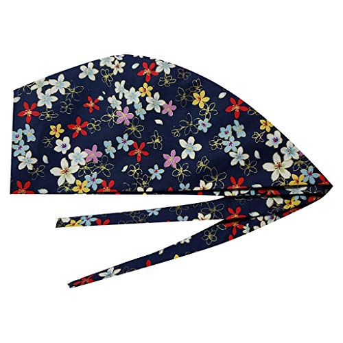 Ghazzi Adjustable Scrub Cap Unisex Nurse Doctor Scrub Cap Surgical Medical Bouffant Print Sweatband Dustproof Hat