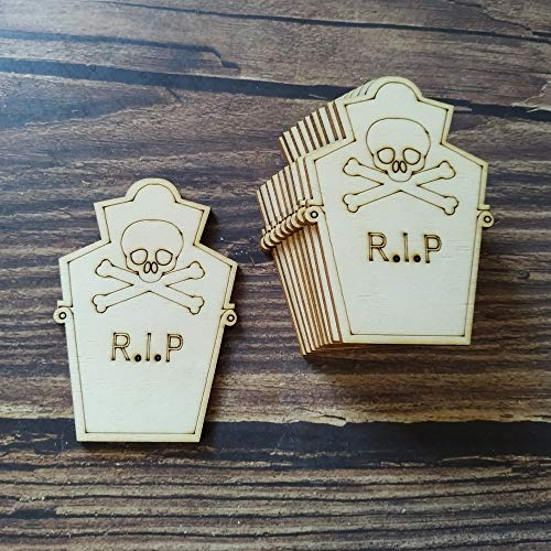 Best Quality - Halloween - 10Pcs Laser Cut Unfinished Wooden Grave Stone Scull Halloween Decoration Death Halloween Party Hanging Decor - by Kiartten - 1 Pcs - Letters Wood - Wood Letter ()