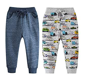 Qin.Orianna Little Boys Cartoon Pattern Cotton Drawstring Elastic Sweatpants Sport Jogger Pants with Pocket(2 Pack) (2T, Navy+Car)