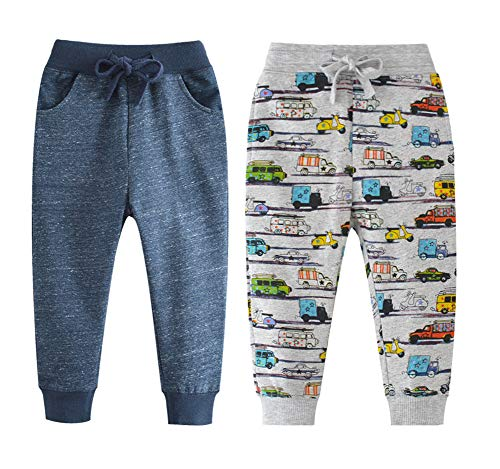 - Qin.Orianna Little Boys Cartoon Pattern Cotton Drawstring Elastic Sweatpants Sport Jogger Pants with Pocket(2 Pack) (4T, Navy+Car)