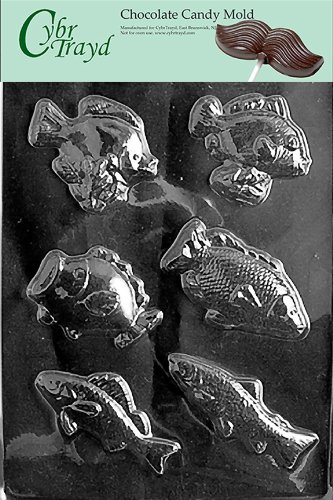 Cybrtrayd N044 Assorted Fish Chocolate Candy Mold with Exclusive Cybrtrayd Copyrighted Chocolate Molding -