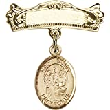Gold Filled Baby Badge with Holy Family Charm and Arched Polished Badge Pin 7/8 X 3/4 inches