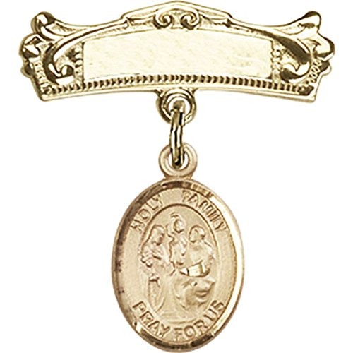 14kt Yellow Gold Baby Badge with Holy Family Charm and Arched Polished Badge Pin 7/8 X 3/4 inches by Unknown