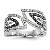 ICE CARATS 14k White Gold Blue/white Diamond Band Ring Size 6.75 Fine Jewelry Gift Set For Women Heart
