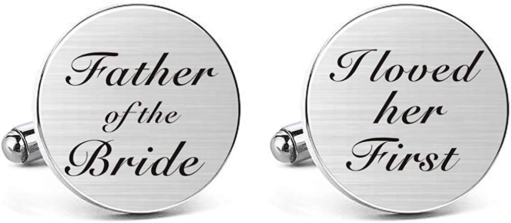 MUEEU Father of The Bride Cufflinks I Loved Her First Cuff Links Engraved Anniversary Wedding Party Cufflinks & Tie Clip Bar Tacks