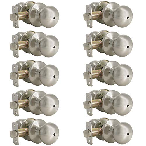 Probrico 10 Pack Privacy Door Knobs, Satin Nickel Bath Bed Lockset, Stainless Steel Interior Keyless Door Knobs Locks Handles(Bedroom & Bathroom)