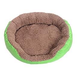 Smile YKK Warm Fleece Round Cat Dog Puppy Pet Bed Sofa Nest House Mat Green L