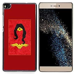 FOR HUAWEI P8 Queen Pattern - Superhero Woman Red Gold Yellow Kids - Doble capa de armadura de la cubierta del caso del protector -