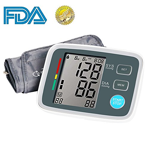 Automatic Digital Arm (Automatic Upper Arm Digital Blood Pressure Monitor FDA Approved with Adjustable Large Cuff, Accurate Electronic BP Machine, 90 Groups Memory, Large LCD Screen)