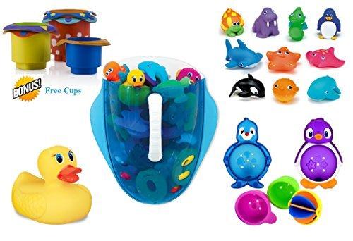 Munchkin Bathtub Toys Set + FREE Nuby 5 Count Stacking Bath Cups (Munchkin Lazy Buoys Bathtub Toys)