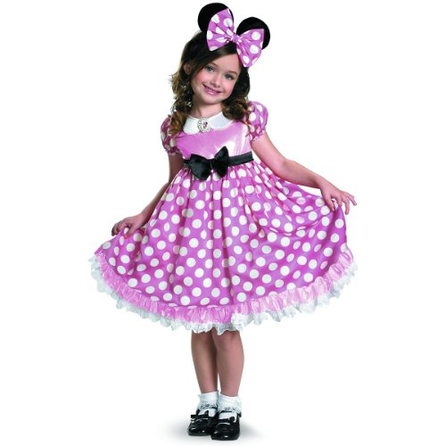 Minnie Mouse Clubhouse Glow In The Dark Costume, Pink/White, Medium -