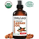 #1: Shiny Leaf Organic Argan Oil for Hair, Face and Body – 100% Pure Morrocan Oil, Natural Moisturizer, Prevents Signs of Aging, Promotes Smooth Hair, Makes Skin Soft and Glowing, Premium Quality 4oz