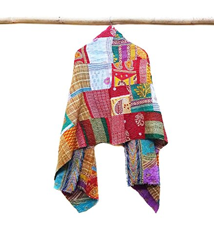 Cotton Kantha Neck Wrap Women Reversible Neckerchief Shawl Stole Bohemian Scarf patchwork