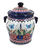 Polish Pottery Floral Butterfly Large Canister