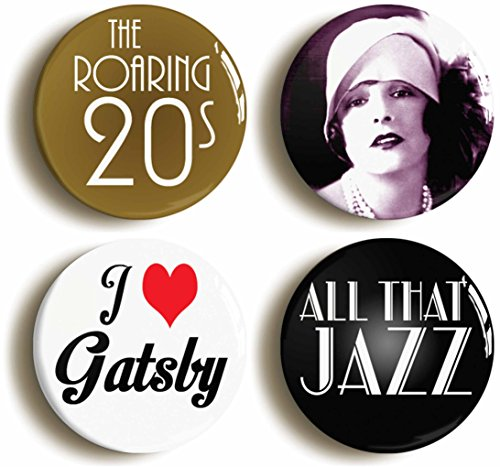 Twenties Flapper Button Pin Set (Size is 1inch Diameter) Gatsby Roaring 1920s Jazz (20s Costume Party Ideas)
