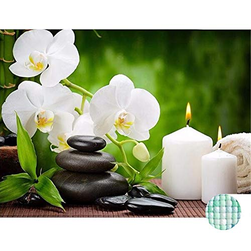LIPHISFUN New Full Square Diamond 5D DIY Diamond Painting Orchid Candles Stones Embroidery Cross Stitch Rhinestone Mosaic - Embroidery Orchid