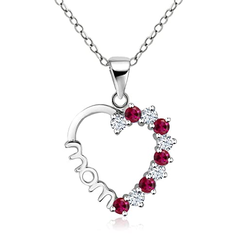 Caperci Round 925 Sterling Silver Rose Gold Plated Pendant Necklace for Women with Lab-Created Ruby White Cubic Zirconia, 18''