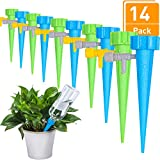 Tatuo Plant Watering Spikes Automatic Plant Waterer Vacation Plant Self Watering Devices Adjustable Water Volume Drip System (14 Pieces)