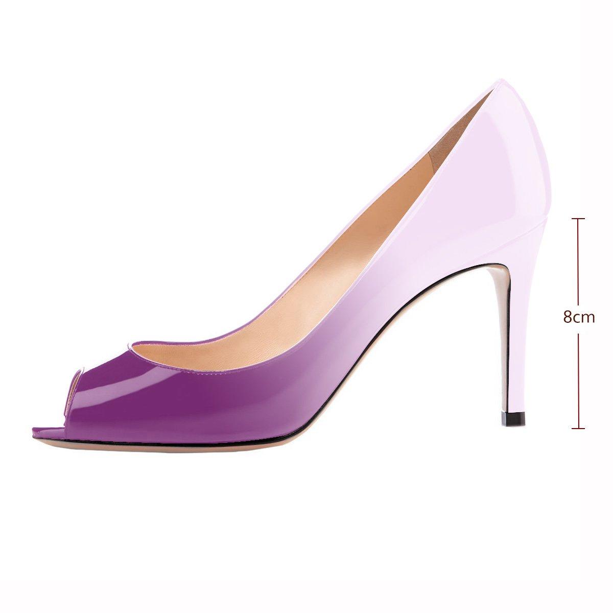 Eldof Women Peep Toe Pumps Mid-Heel Pumps Formal Wedding Bridal Classic Heel Open Toe Stiletto B07F8NNN2W 7 B(M) US|Purple-light