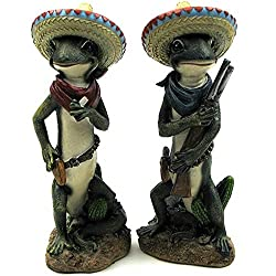 Southwest Gecko Set of 2 - Patch Decorative LIzard Pistol Statue
